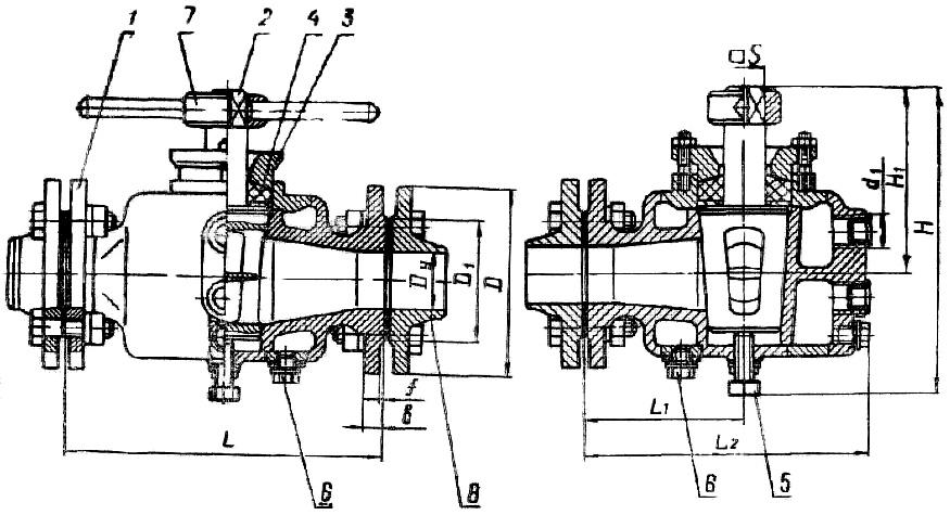 Чертеж трехходового крана 11с17бк сальникового с паровым обогревом.